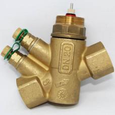 Комбинированный балансировочный клапан GREEN, Ду15 с измерительными ниппелями, FLOWCON